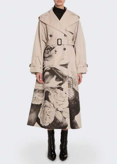 Lovers Graphic Gabardine Trench Coat