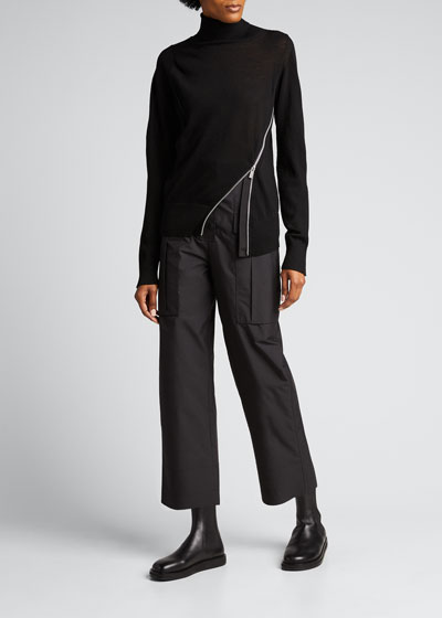 Asymmetric-Zip Turtleneck Wool Sweater