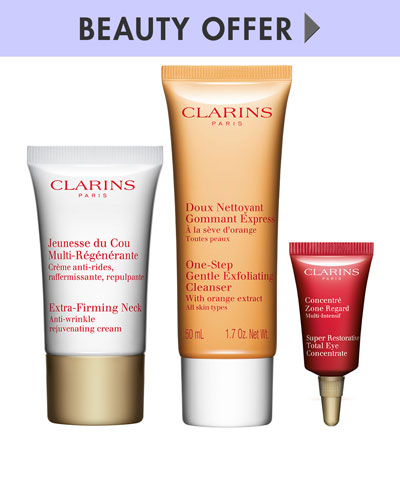 Yours with any $85 Clarins purchase—Online only*