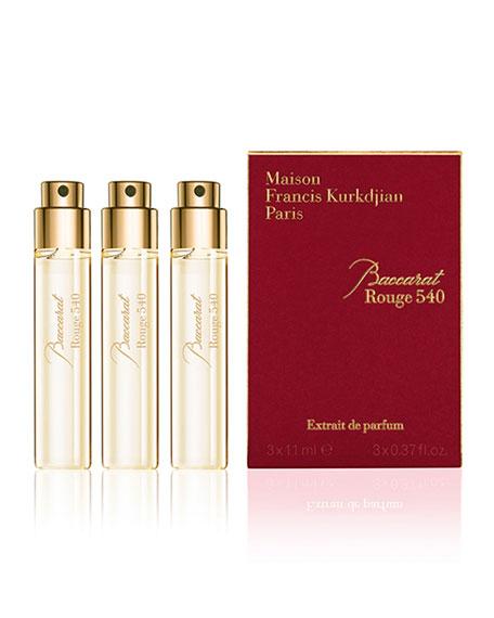 Baccarat Rouge 540 Extrait de Parfum Refills, 3 x 0.37 oz./ 11 mL