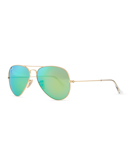 Image 1 of 1: Aviator Sunglasses with Flash Lenses, Gold/Green Mirror