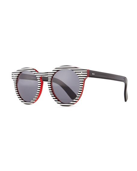 Leonard II Striped Sunglasses, Black/White