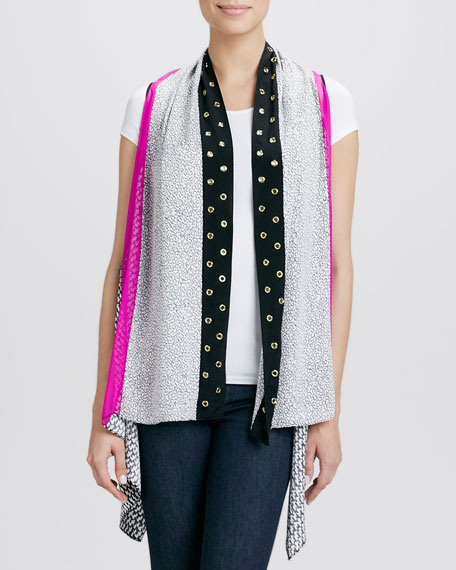 Grommeted Printed Silk Serape Gilet Vest, Black/White/Pink