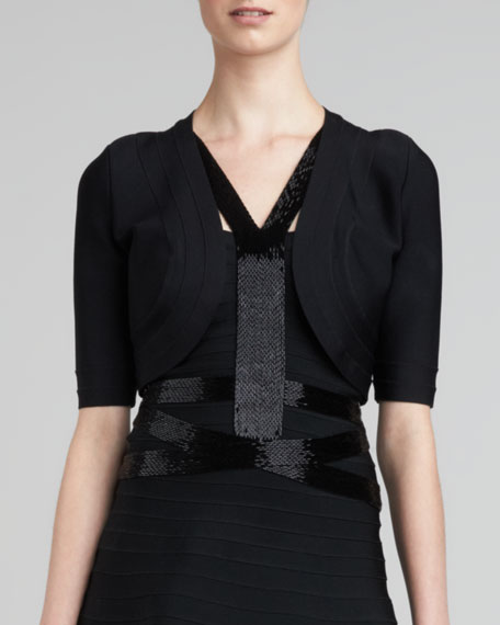 Bandage-Trim Shrug, Black