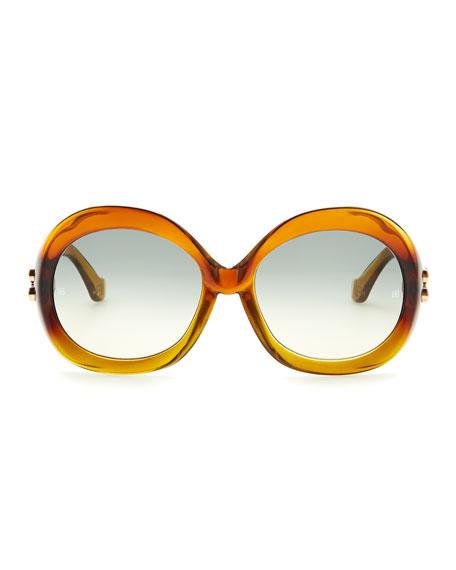 Oversized Round Sunglasses, Transparent Brown Gradient