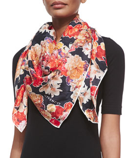 Flower and Butterfly Printed Scarf