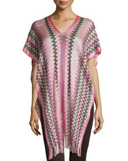 Zigzag Knit Poncho with Fringe, Pink