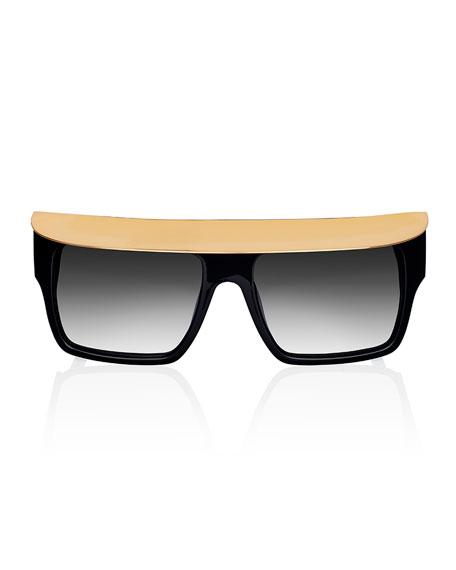 Shady Metal-Brow Square Sunglasses, Black
