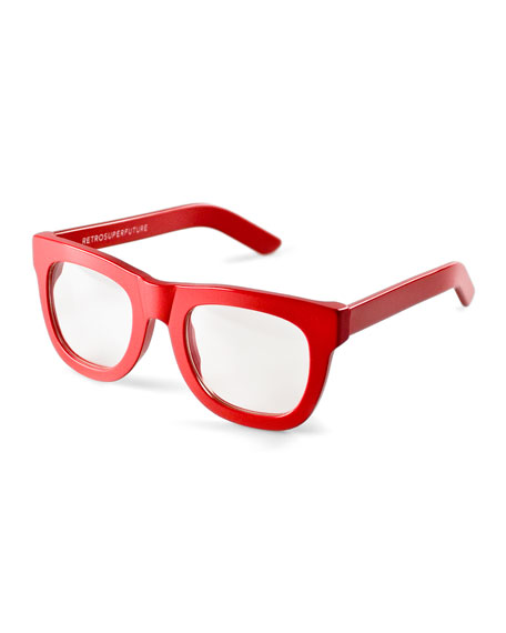 Ciccio Thick-Frame Fashion Glasses, Red