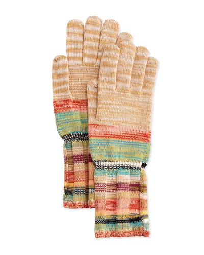Striped Space-Dye Knit Gloves