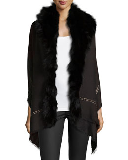 Fox Fur Metallic-Stripe Shawl, Black