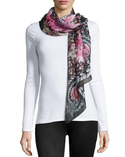Paradise Flowers Silk Scarf, Black/Pink