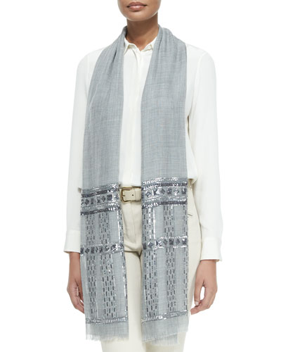Notturno Sequin-Embellished Woven Stole