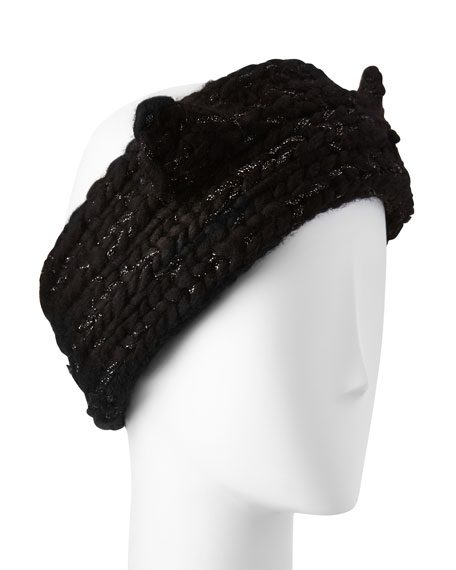 Kat Hand-Knit Headband w/Cat Ears