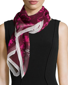 Puzzle Heart Chiffon Scarf, Rouge