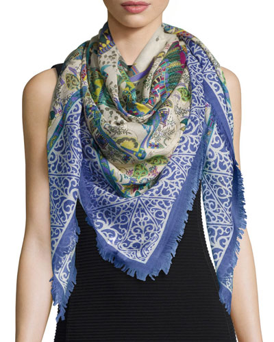 Impero Printed Cashmere-Blend Shawl