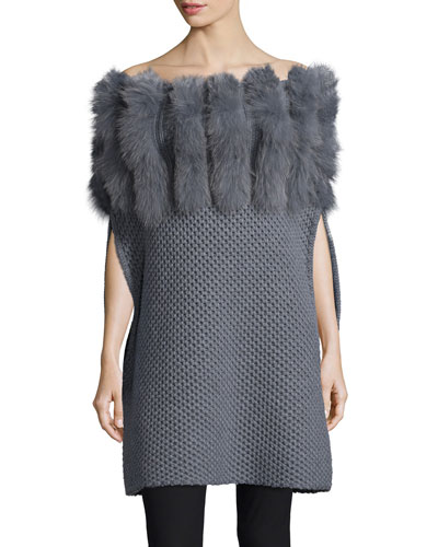 Fur-Trim Convertible-Neck Knit Poncho