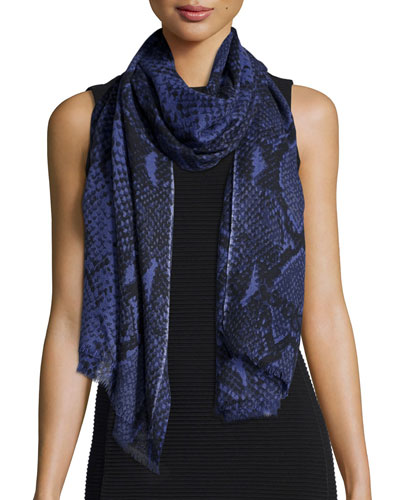 Kenley Snake-Print Cashmere Scarf, Purple