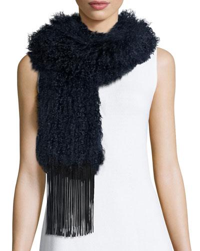Fur Scarf w/Leather Fringe