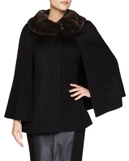 Fur-Collar Short Cashmere Cape