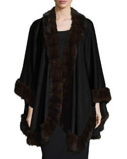 Mink-Fur-Trim Cashmere Cape, Black
