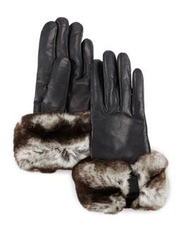 Rabbit-Fur-Trim Leather Gloves