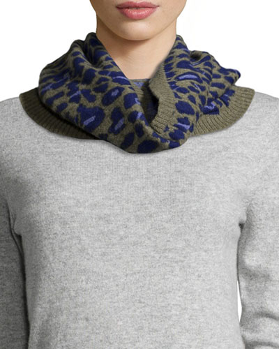 Cashmere Leopard-Print Cowl Collar