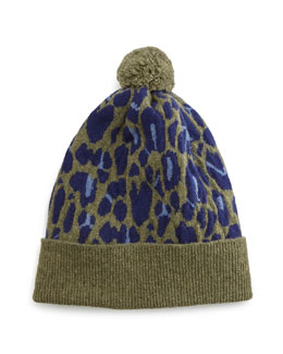 Cashmere Leopard-Print Beanie