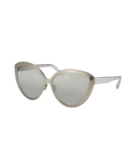 Cat-Eye Sunglasses w/ Snake Arms, White Golden