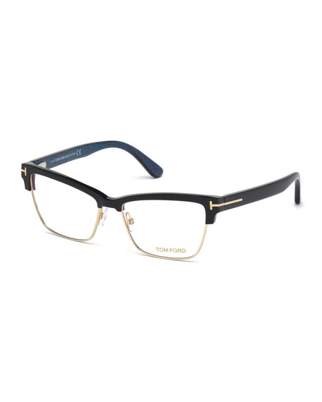 bbf30e8e86 TOM FORD Square Dual-Rimmed Metal Fashion Glasses