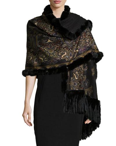 Reversible Cashmere Fur-Trim Shawl, Black