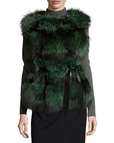 Fox Fur Belted Vest, Lime