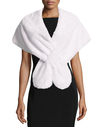 Mink Fur Pull-Through Stole, White