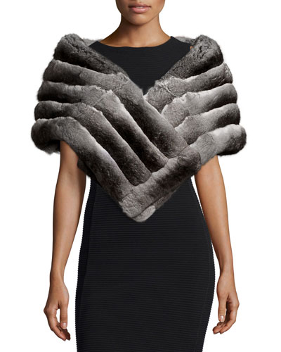 Chinchilla Fur Stole, Gray