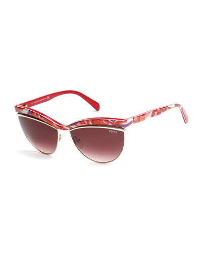 Flared-Brow Cat-Eye Sunglasses, Fuchsia