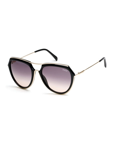 Large Aviator Sunglasses, Black