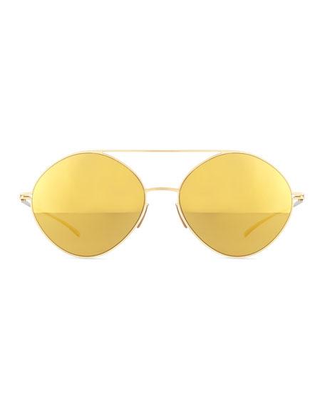 Round Mirrored Stainless Steel Sunglasses