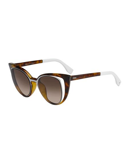 Open-Inset Square Cat-Eye Sunglasses