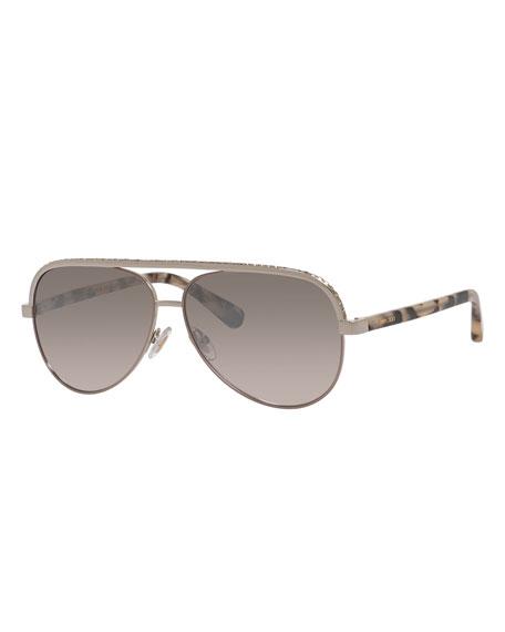 7a8edfd2bcd2 Jimmy Choo Lina Rhinestone Aviator Sunglasses