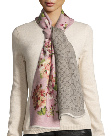Gucci Orophin Floral Wool Scarf Light Pink