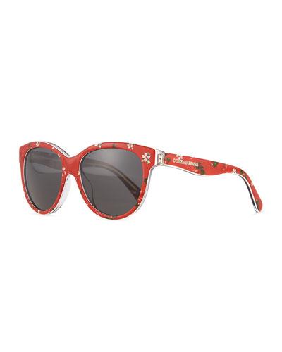 Junior Square Floral-Print Sunglasses, Red
