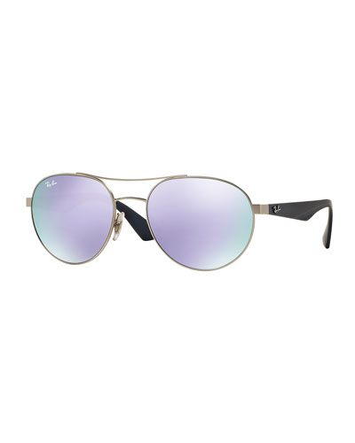Round Iridescent Aviator Sunglasses