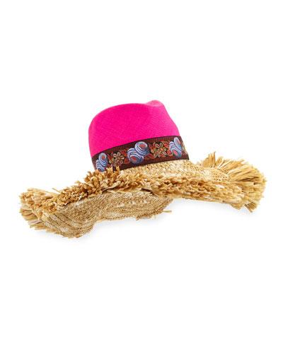 Straw Sun Hat w/ Raffia Trim, Pink