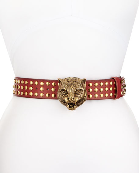 Studded Leather Tiger-Buckle Belt