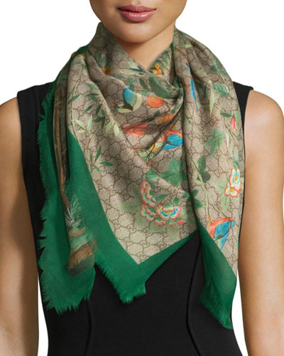 Tian Foulard Scarf, Green/Brown