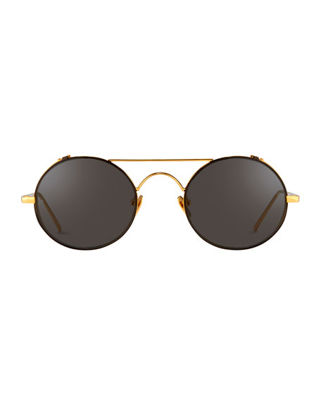 445c742be69 Linda Farrow Round Brow-Bar Sunglasses