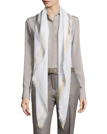 Quadrata Soffio Cashmere & Silk Scarf, White