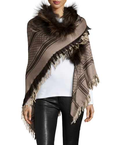 Survie Plaid Fox-Trim Scarf, Beige