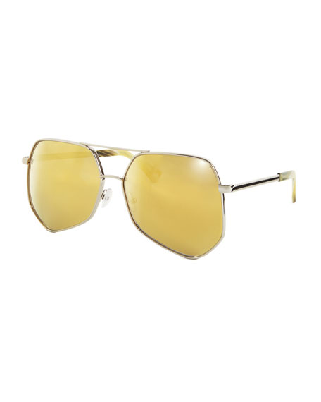 Megalast Geometric Aviator Sunglasses, Silver/Gold