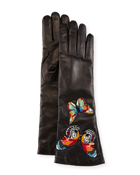 Embroidered Leather Gloves, Black